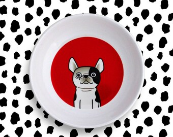 Kids Plate Bowl – bulldog Boston Terrier Frenchie – red dog pet animals picnic dish