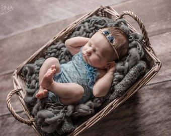 Newborn Girl Photo Outfit, Newborn Romper, Blue, Baby Girl Prop, Newborn Photo Prop, Newborn Outfit Prop, Baby Picture Prop,Blue Romper,Prop
