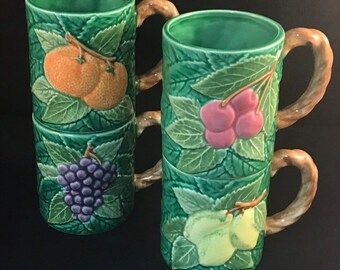 6570d725cf Majolica Look Fruit Mugs Made in Japan for Lord & Taylor ~ Set of 4