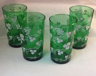 Anchor Hocking Forest Green Grape and Leaf Tumblers ~ Set of 4