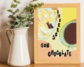 A5 churros art print Illustration Spanish chocolate food artwork Cafe breakfast in Spain