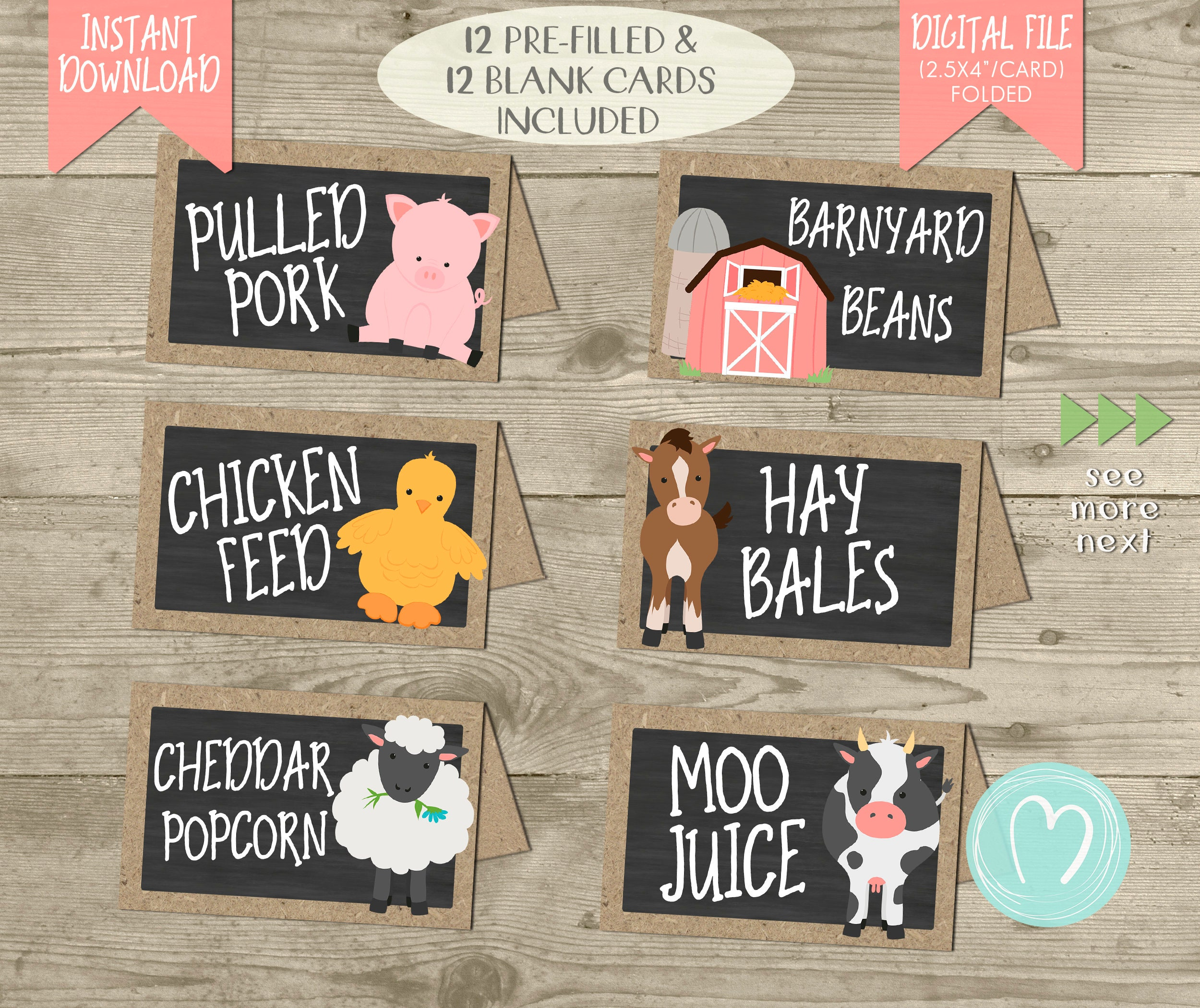 Farm Animals Birthday Party FOOD LABELS/ Tent Cards