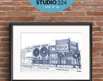 Toronto Sam the Record Man Art Print, Landmark Architecture Sketch Drawing and Wall Art Posters, Toronto Travel Souvenir and Gift