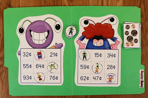 graphic relating to Printable File Folder Games known as Financial Bingo - Monster Revenue - Printable History Folder Game titles