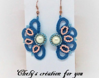 Blue and pink earrings tatting lace / / tatted jewelry / / copper metal hook / / women grift / / made in France