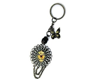Yellow Butterfly bag charm made in France brass Butterfly keychain