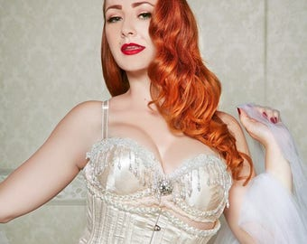 Custom Made Bridal with Pearls Corset and Garter Set