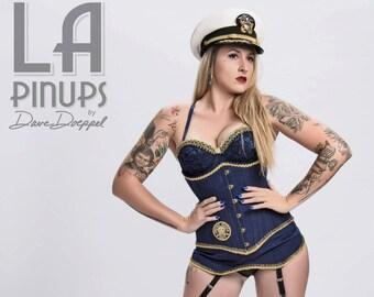 Custom Made Navy Under Bust Corset and Garter Set