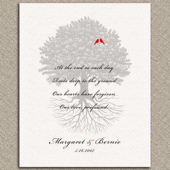 Personnalisé Famille Arbre De Vie Amour Pardon Poème 10e Mariage Anniversaire Cadeau Arbre Racines Personnalisé Métal Papier Nimpression Sur Toile