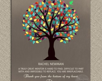 Gift for Mentor, Personalized Mentor Gift, Colorful Tree, Gift For Boss, Teacher Gift, Thank You Gift Custom Metal Paper Canvas Print 1029