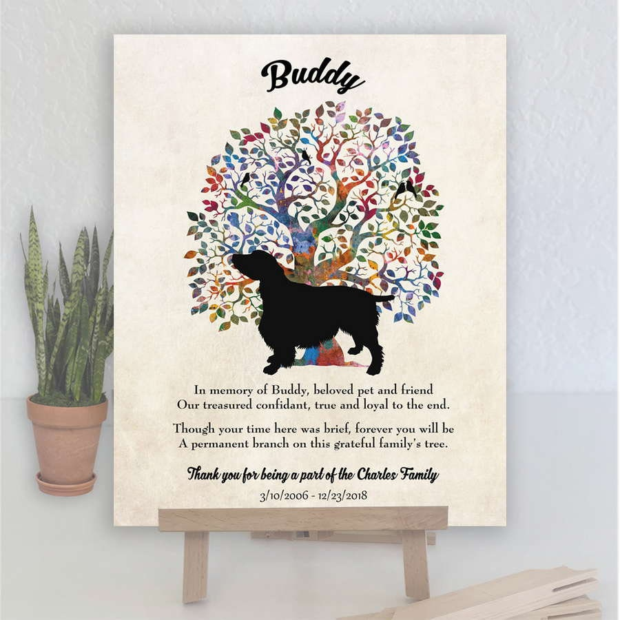 English Springer Spaniel, Dog Memorial, Family Tree Plaque, Personalized,  Sympathy Gift, Loss of Pet, Dog Memorial, Gift for Owner #1043