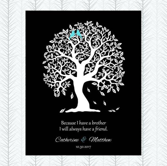 Dziękuję Prezent Od Siostry Do Brata Do Brata Spersonalizowanej Dla Brata W Prawo Drzewo Wiersz Niestandardowy Druk Metalu Papier Płótno Art Print