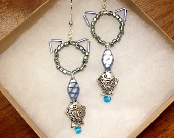 Sea Cats, Kitty & Fish Earrings by The Elven Cat
