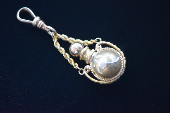 Victorian Gold Filled Perfume Pendant with Silver