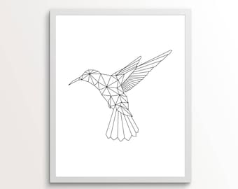 Hummingbird Geometric, Hummingbird Print Black And White, Hummingbird Wall Decor, Hummingbird Gift For Man, Line Art, Line Art Prints, Line
