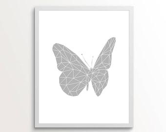 Grey Wall Art, Grey Wall Decor, Grey Wall Prints, Butterfly Artwork, Grey, Grey Art, Butterfly Print, Butterfly Wall Art, Butterfly