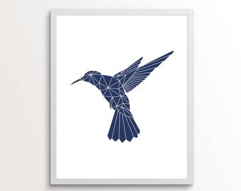 Navy Blue Wall Art, Hummingbird Wall Print, Navy Gifts, Hummingbird Ornament, Hummingbird Art, Geometric Decor, Geometric Art, Navy