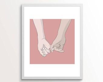 Romantic Gifts, Hand Art, Hand Wall Art, Hand Wall Decor, Pink Decor, Love Wall Art, Holding Hands Art, Hand Drawing, Beige, Pink Wall Art