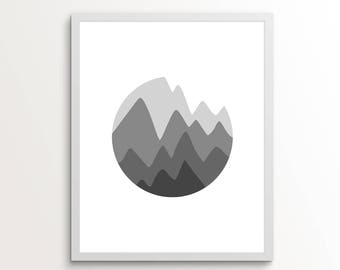 Mountain Art, Mountain Digital Download, Mountain Wall Art, Monochrome Wall Art, Grey Wall Art, Gifts for Him, Mountain Print, Grey Art