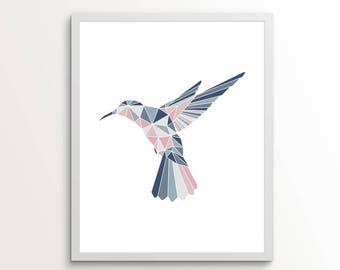 Hummingbird Wall Art, Hummingbird Gift, Hummingbird Printable, Geometric Print, Animal Prints for Nursery, Animal Gift Ideas, Animal Prints