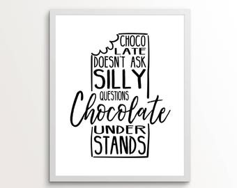 Chocolate Wall Art, Chocolate Art, Gifts for Her, Funny Gifts, College Kitchen, Kitchen Wall Art, Kitchen Art, Chocolate, Chocolate Print