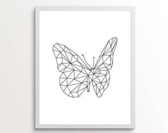 Line Art, Line Drawing Print, Line Wall Art, Butterfly Wall Decor, College Dorm, Line Drawing, Line Wall Decor, Black and White Wall Decor