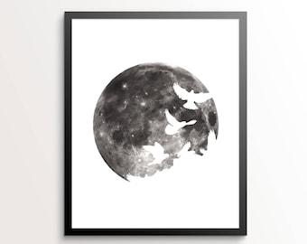 Moon Print, Bird Silhouette Art, Moon Decor, Moon Wall Art, Moon Wall Decor, Fly Me To The Moon, Astrology Gifts, Bird Silhouette, Bird Art
