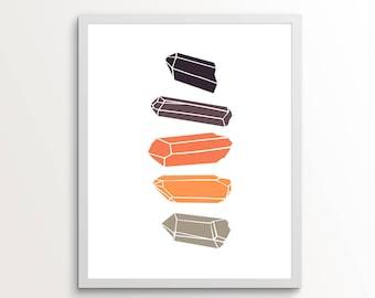 Crystals, Crystal Wall Decor,  Geometric Wall Art, Dorm Wall Decor, Crystal Wall Art, Crystal Art, Crystal Print, Printable Wall Art