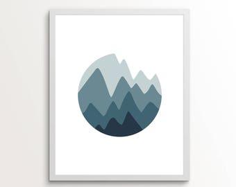 Mountain Print, Mountain Art, Mountain Decor, Mountain Wall Decor, Mountain Wall Art, Circle Print, Circle Wall Decor, Blue Wall Art, Blue