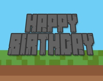 Happy Birthday Card Boys Minecraft Inspired Printable Instant Download BDay Print At HomeBuilding Mining Teen