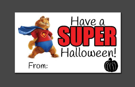 Have A Super Halloween Printable Garfield Card Tag Print At Etsy