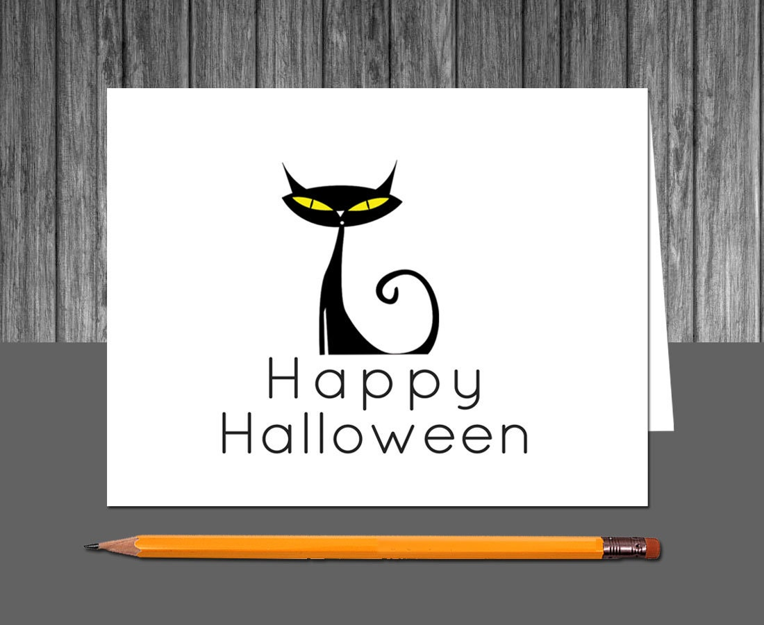 photograph about Happy Halloween Cards Printable called Pleased Halloween Greeting Card Printable, Black Cat Notecard, Childrens Card Print at household, Clroom Halloween Present Instructor Oct Playing cards