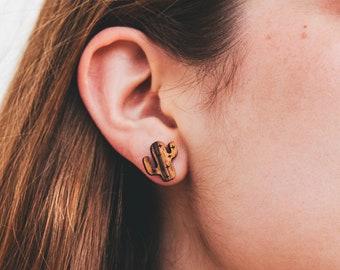 Wooden Cactus Earrings - Cacti Studs Saguaro Southwestern