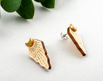 Moonlight Ear Jackets - Brass Wood Crescent Moon Stud Earrings Celestial Eco Gift