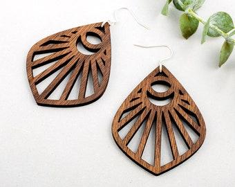 Wooden Moon Beam Earrings - Celestial Dark Brown Walnut Wood Natural Eco Gift for Her