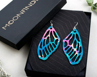 Leather Dragonfly Wing Earrings Hand Dyed Colorful Lightweight Natural Gift