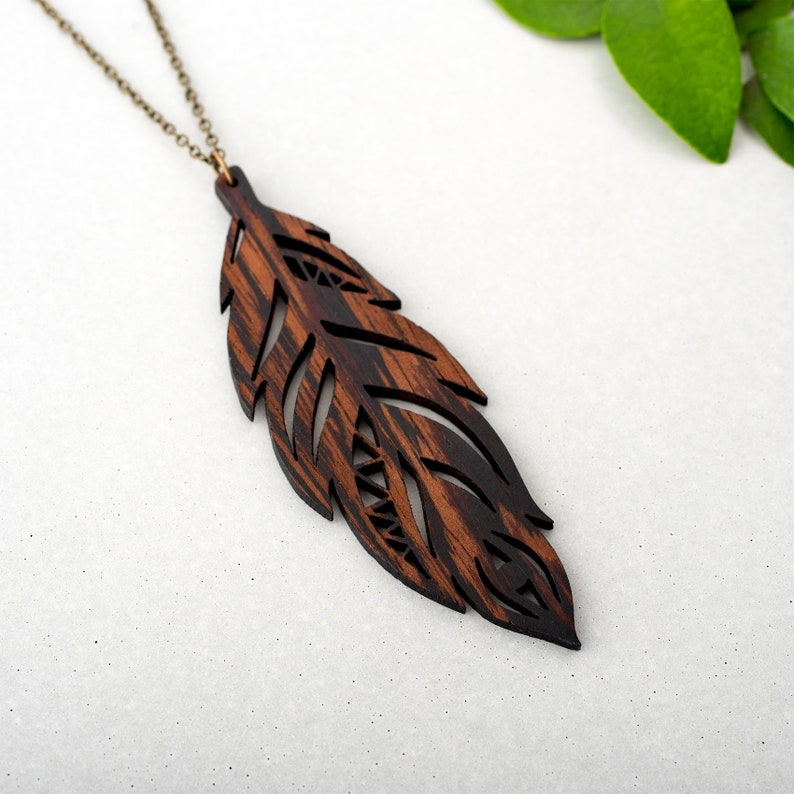Wooden Feather Necklace Long Pendant 'Plume' Dark image 1