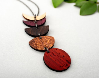 Wooden Moon Phase Necklace Vertical Dangle Exotic Woods Lunar Blood Moon Natural Gift
