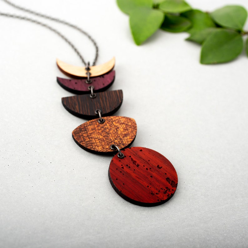 Wooden Moon Phase Necklace Vertical Dangle Exotic Woods Lunar image 0
