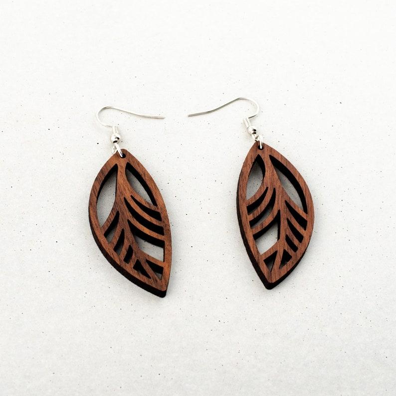 Little Wooden Leaf Earrings  Dark Brown Walnut Minimal image 0