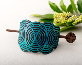 Leather Hair Bun Holder Geometric Cloud Wooden Hair Stick Hand Dyed Turquoise Laser Etched