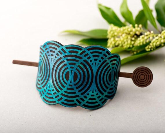 Cuir cheveux chignon porte géométrique nuage cheveux bois Stick teintée à la main Turquoise Laser gravé