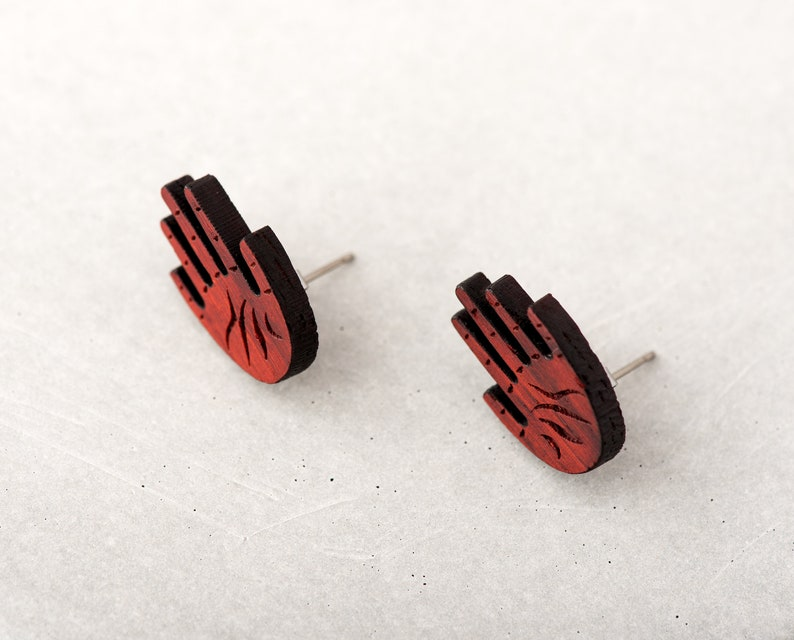 Hand Studs Wooden Earrings Red or Purple Open Palm Bloodwood image 0