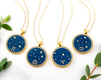 Zodiac Constellation Necklace, Horoscope Sign Pendant Gold Coin Midnight Blue Stars Wood Marquetry