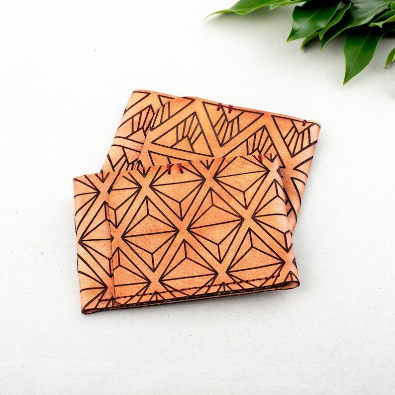Geometric Slim Leather Wallet  Men's Unisex Etched Tan image 0