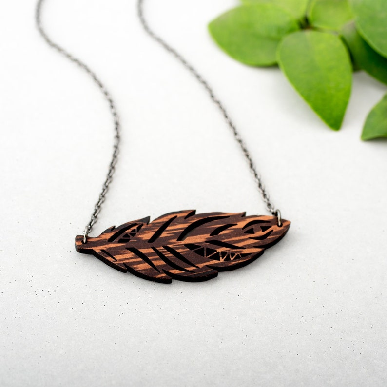 Small Feather Necklace  Wooden Dark Wood Boho Jewelry Little image 0