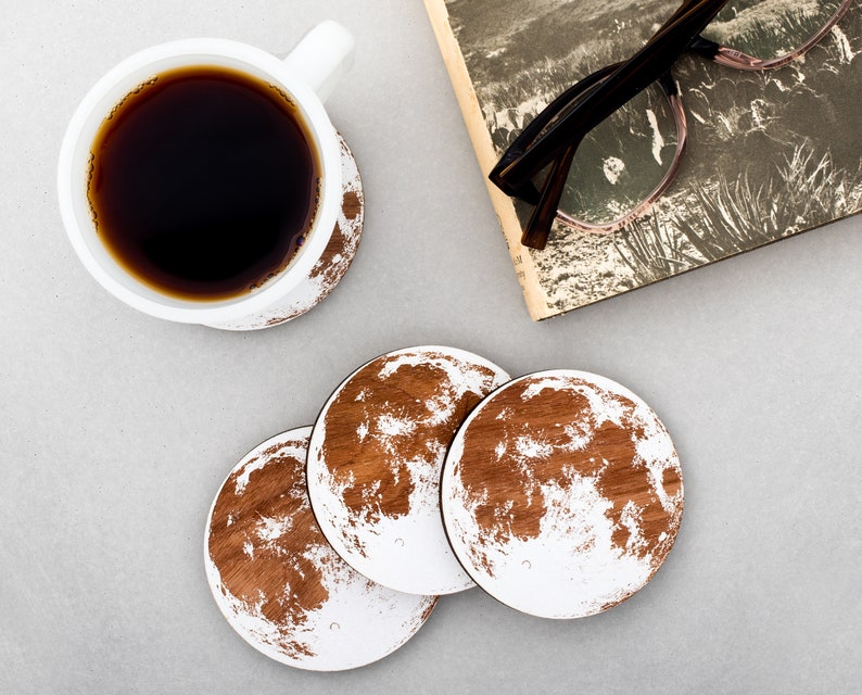 Moon Coasters Wooden White Full Moon Gift Barware Space image 0