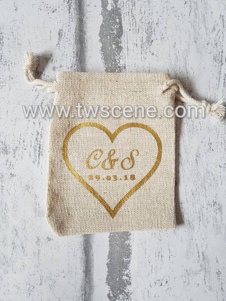 1b4582e14bbb6 Wedding ring bag small personalised with names, date, initials