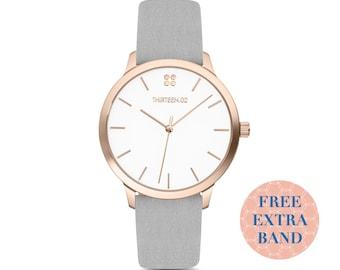 6f0f90c4709fa Womens Watch Rose Gold Minimalist Watch Brown Leather Watch