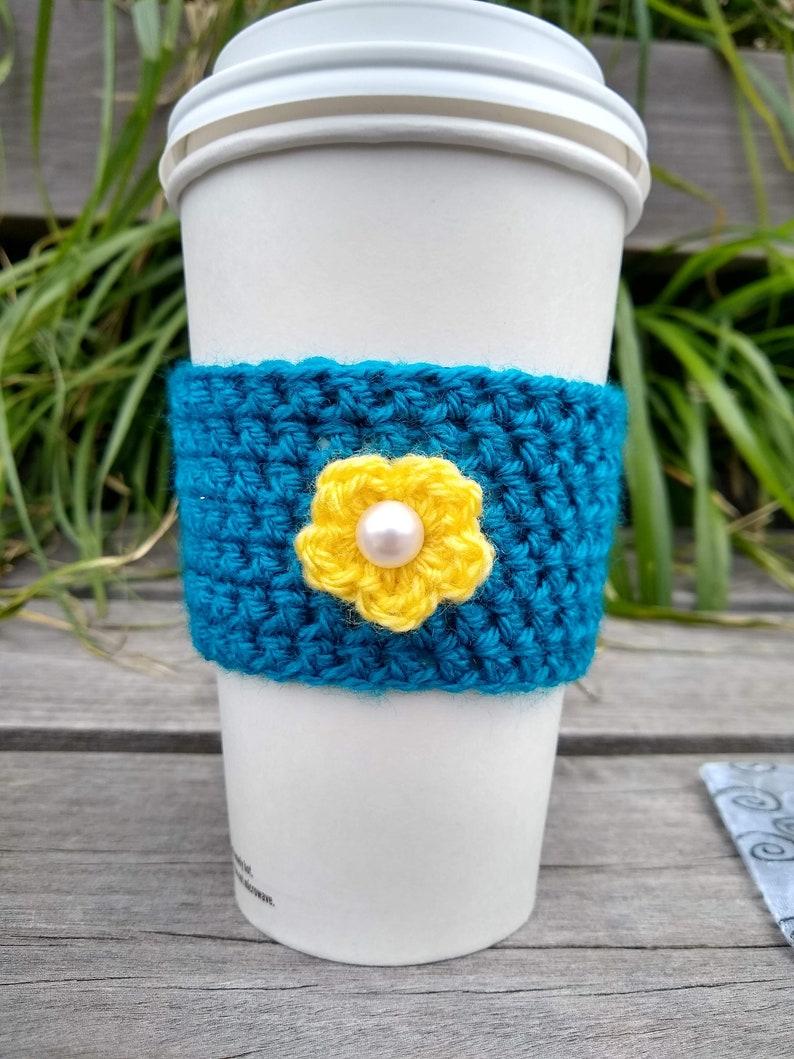Crochet Coffee Sleeve Dark Turquoise with Yellow Flower image 0